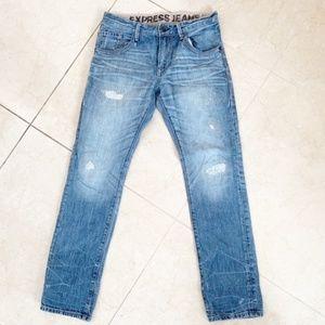Express Distressed Zack Slim Straight Jeans 32x32